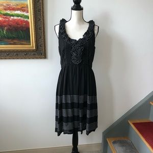 Kate Spade Silk Dress Ruffled neck Fit n Flare 8 M